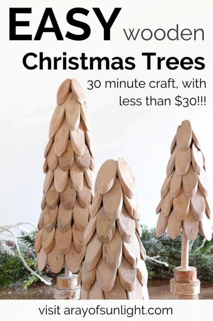 Make these easy DIY small wooden Christmas trees with driftwood in 30 minutes and with less than $30 for all 3 Christmas trees!! Love these driftwood Christmas trees for a farmhouse rustic style Christmas, beachy Christmas, or modern farmhouse style Christmas. They are perfect for TV Stand decor, shelf decor, Christmas centerpieces and more! #christmasinspiration #christmastree #woodchristmas
