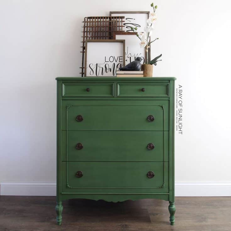 Emerald Green Painted Dresser: How to Paint with Milk Paint