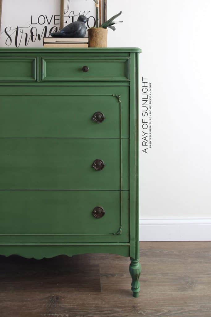 emerald green painted dresser