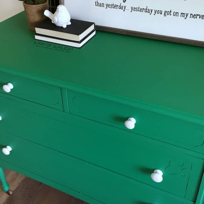 Green Chalk Paint Dresser After