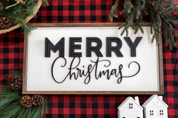 3D Merry Christmas, Christmas Sign,