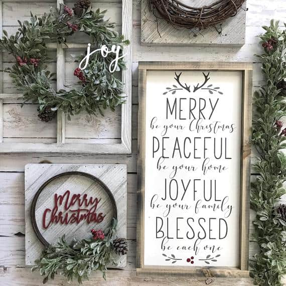"""Merry be your Christmas, Peaceful be your home sign, Joyful be your family, Blessed be each one"" Christmas Sign"