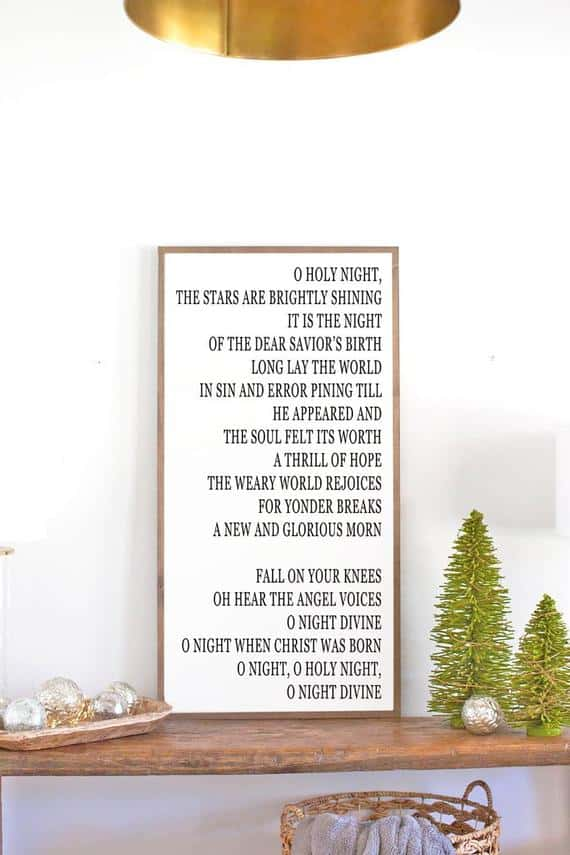 O Holy Night Christmas Sign