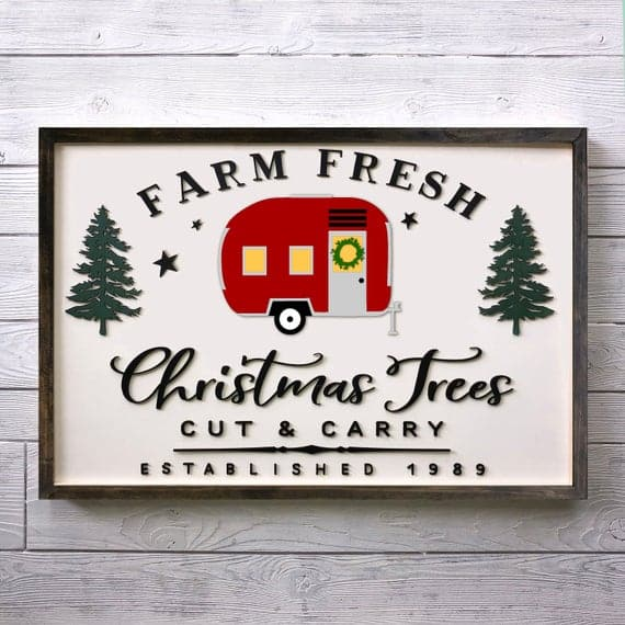 3D Farm Fresh Christmas Trees with a Red Trailer