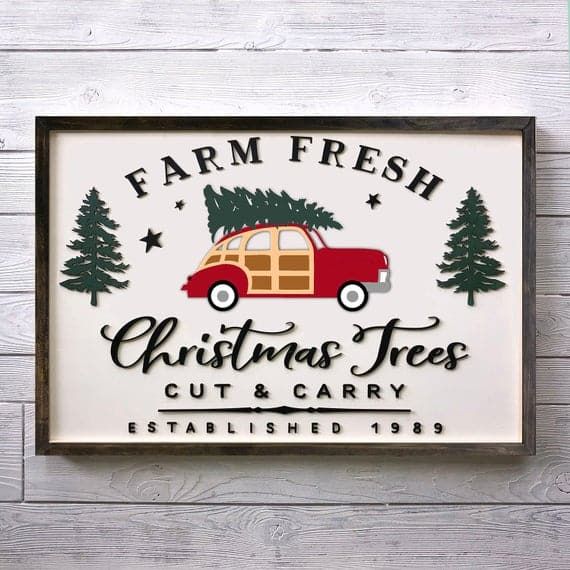 Farm Fresh Christmas Trees with Red Car Christmas Sign
