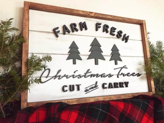 Farm Fresh Christmas Trees Sign - 3D