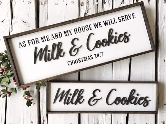 3DMilk and Cookies Funny Christmas Sign