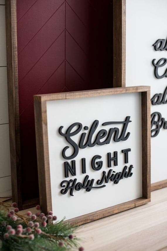 Silent Night, Holy Night Christmas Farmhouse Wooden Sign