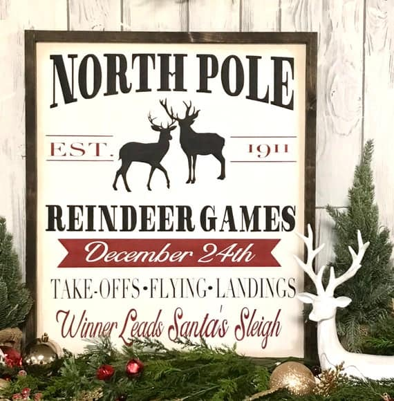 North Pole Reindeer Games Christmas Sign