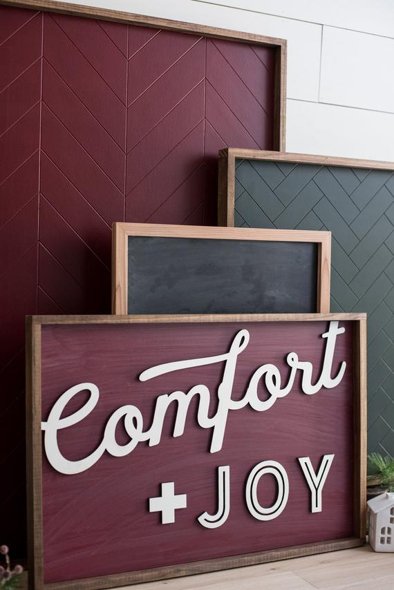 Comfort and Joy Laser Cut 3D Farmhouse Christmas Sign