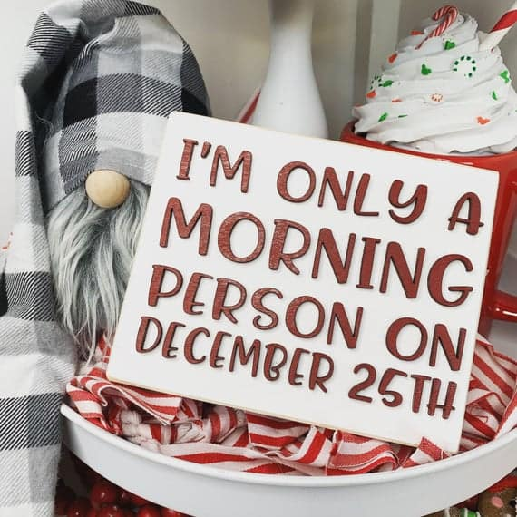 I'm only a morning person on dec 25th Christmas 3D Wood Sign