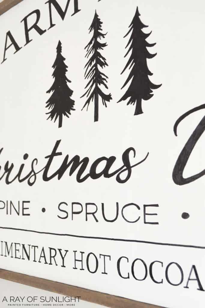 Homemade wooden sign for Christmas