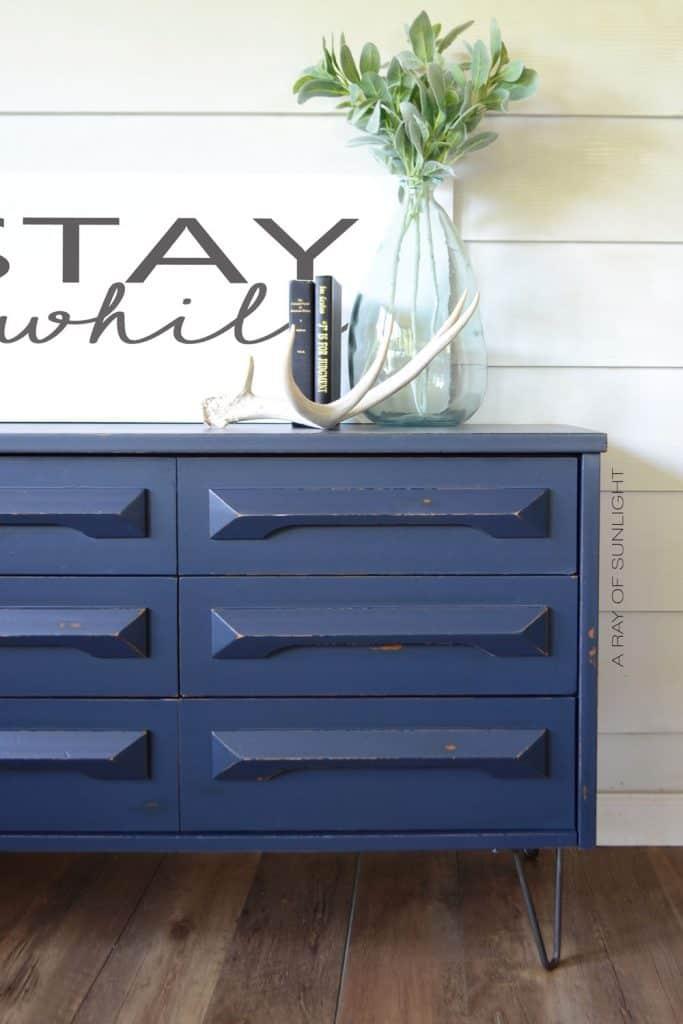 blue painted mid century modern dresser