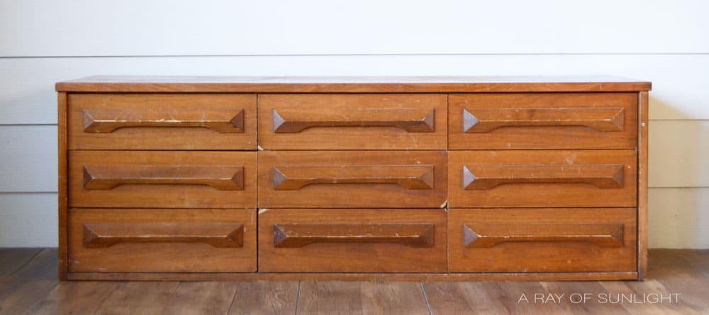 vintage mid century modern dresser transformation