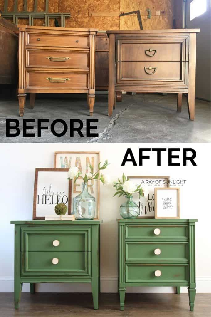 before and after emerald green mismatched nightstands