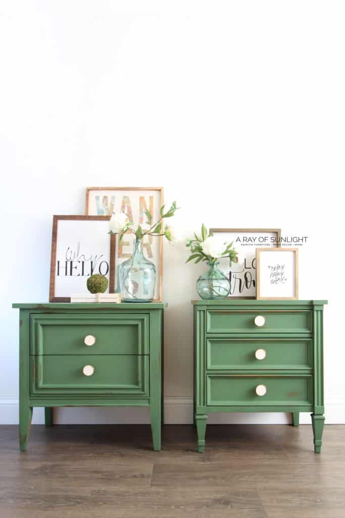 emerald green mid century modern nightstands