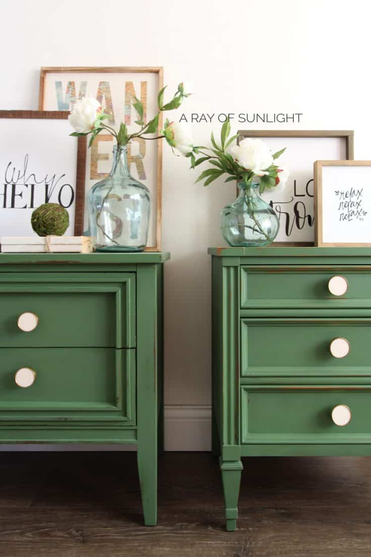 DIY Emerald Green Mismatched Nightstands