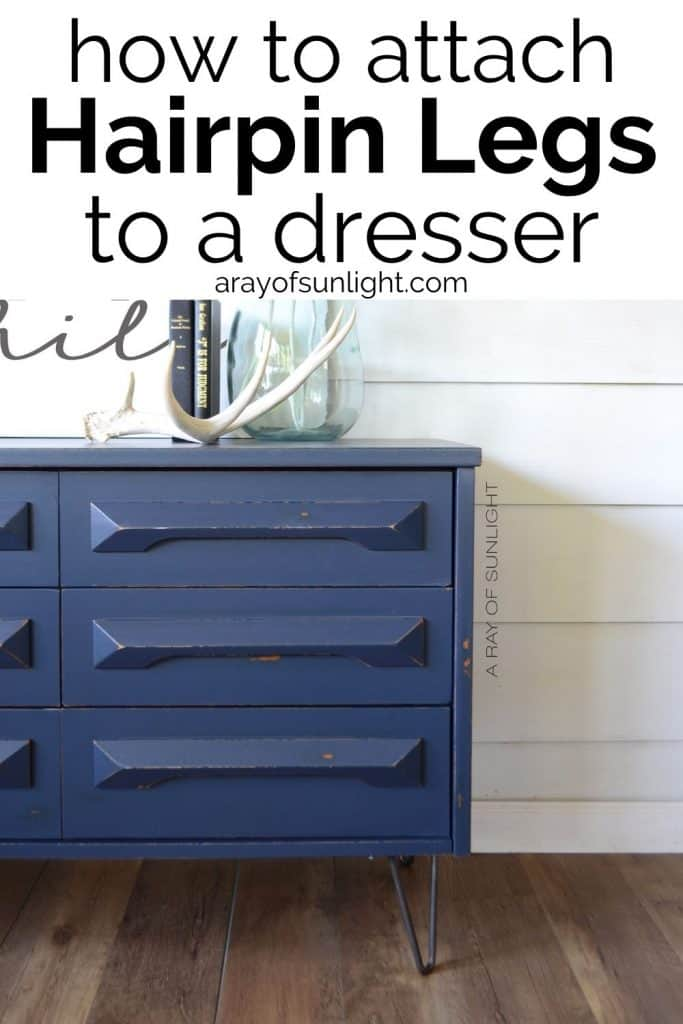 how to attach hairpin legs to a dresser
