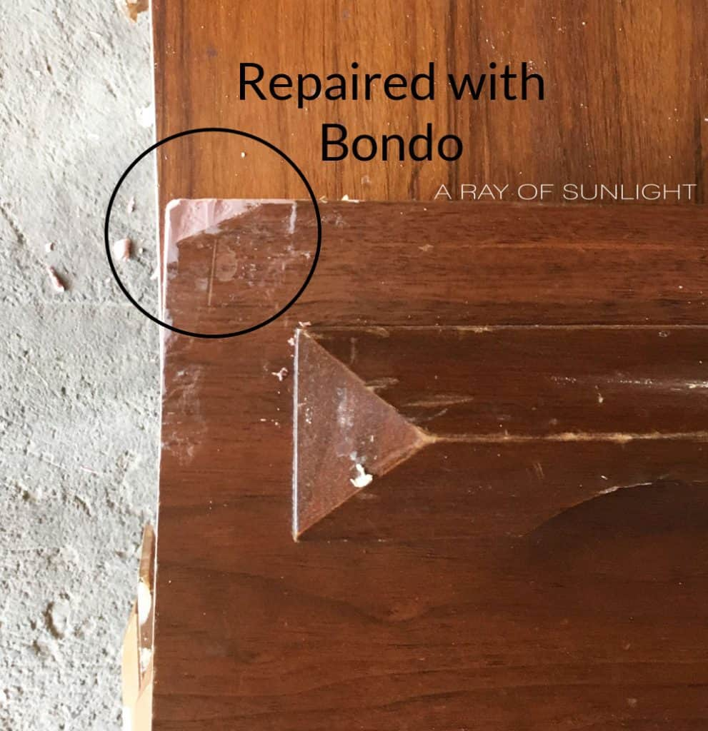 how to fix chipped wood corner of drawers