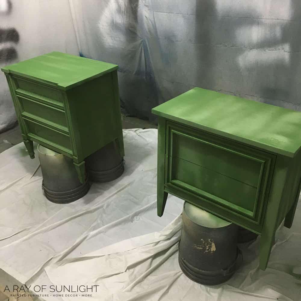 spray milk paint on nightstands
