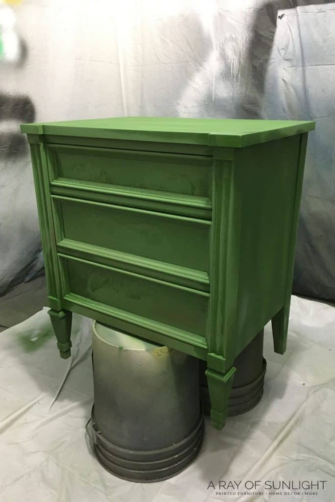spray milk paint on nightstands