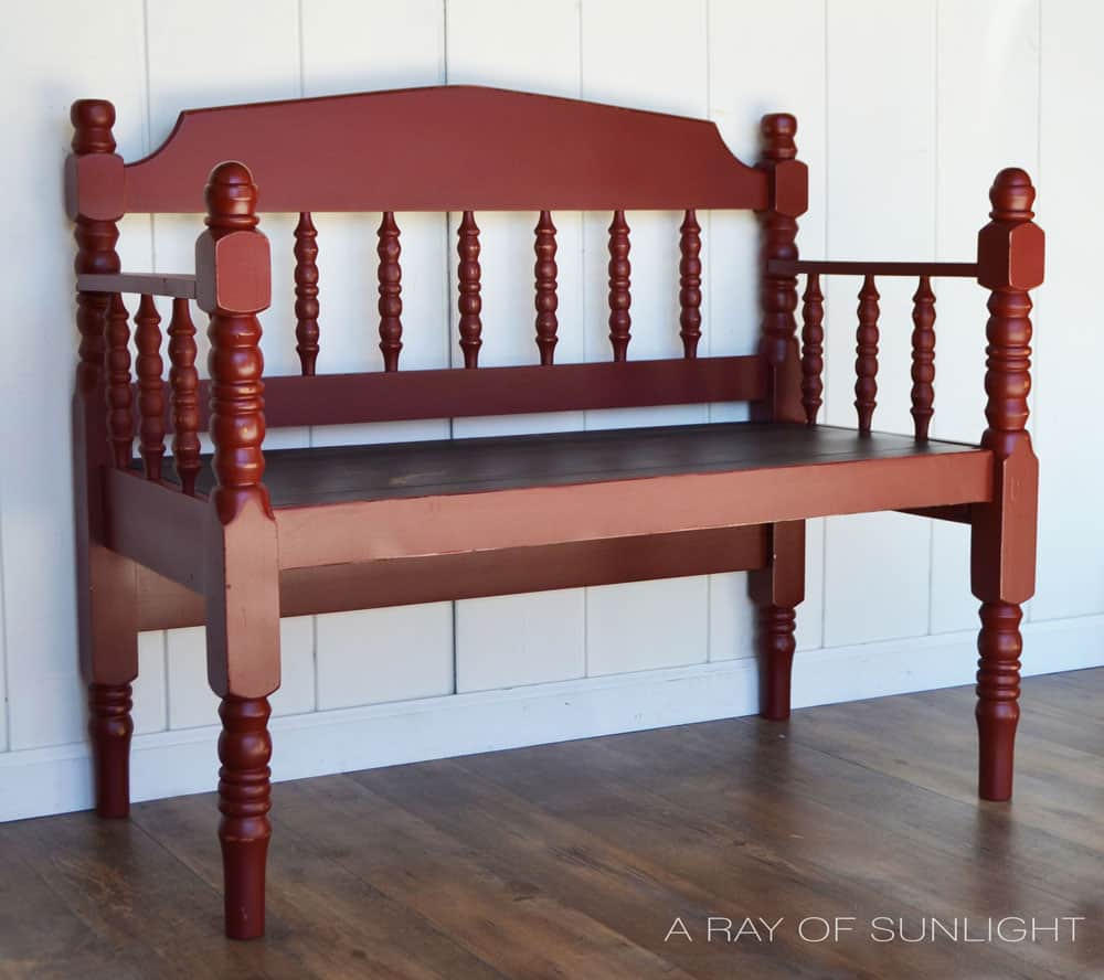 twin headboard bench painted rustic red for a porch bench
