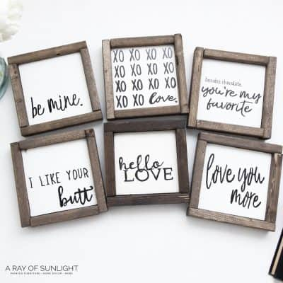 Small Wooden Love Signs for Valentine's Day – FREE Printables