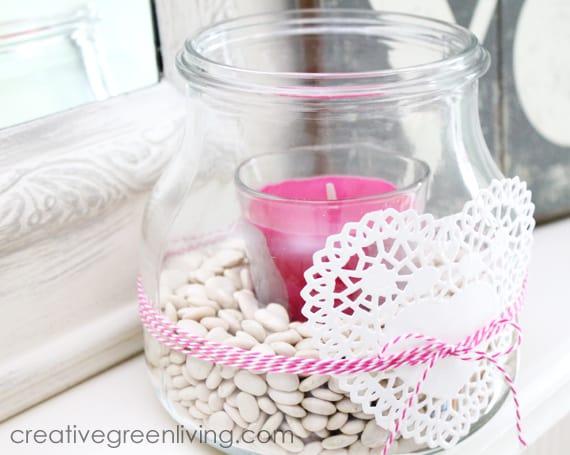 Easy Valentine's Day Jar Candle Holder