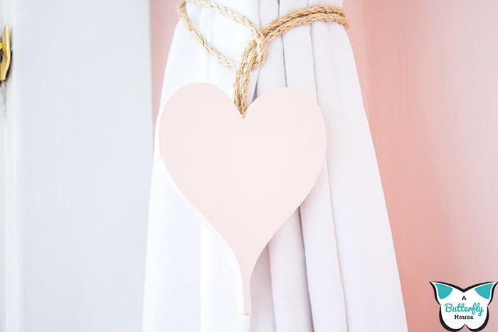 DIY Heart Curtain Ties | Valentine's Day Decor
