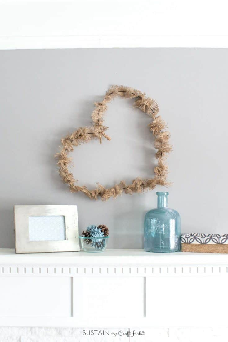 Simple Wire and Burlap Heart Wreath