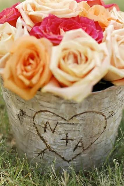 DIY Rustic Carved Initial Centerpieces