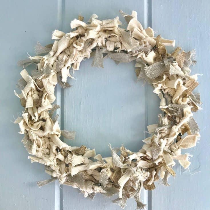 Super Easy DIY Neutral Rag Wreath