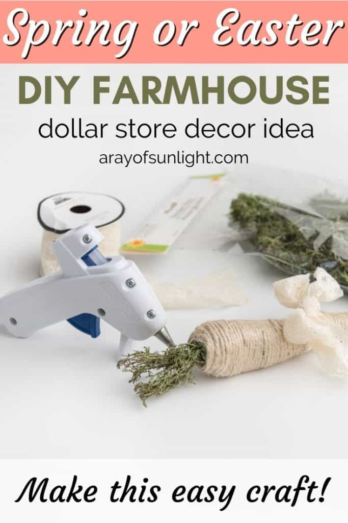 Spring or Easter DIY Farmhouse Dollar Store Decor Idea