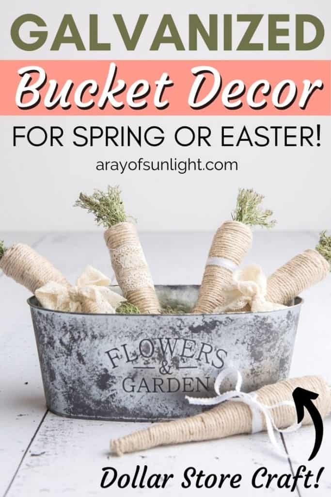 Galvanized Bucket Decor for Spring or Easter