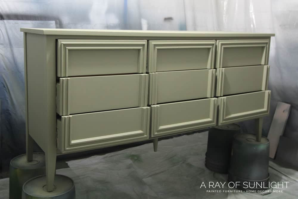 olive green furniture paint on 9 drawer dresser makeover