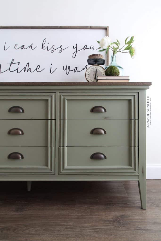 mid century modern painted dresser in olive green