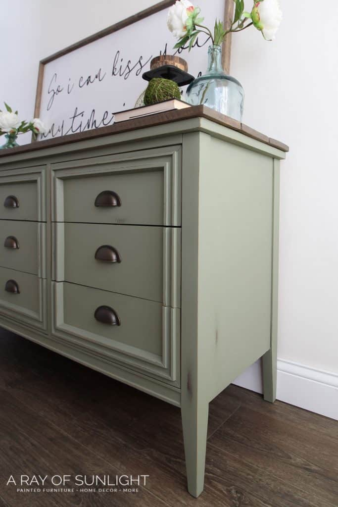 DIY farmhouse mid century modern painted dresser with plank top