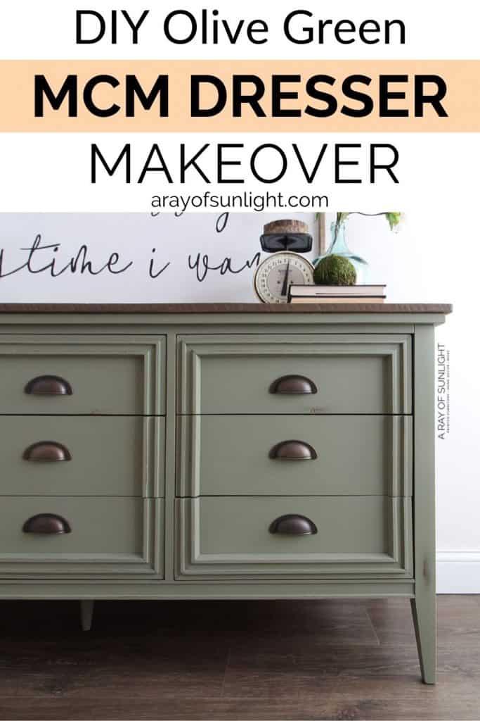 DIY Olive Green MCM Dresser makeover