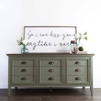 Mid Century Modern Farmhouse Dresser in Olive Green