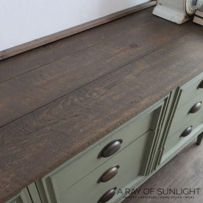 plank top dresser with weathered wood planks