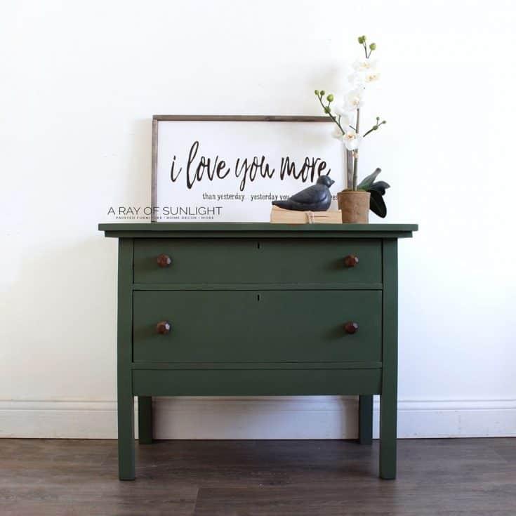 Dark Green Painted Dresser