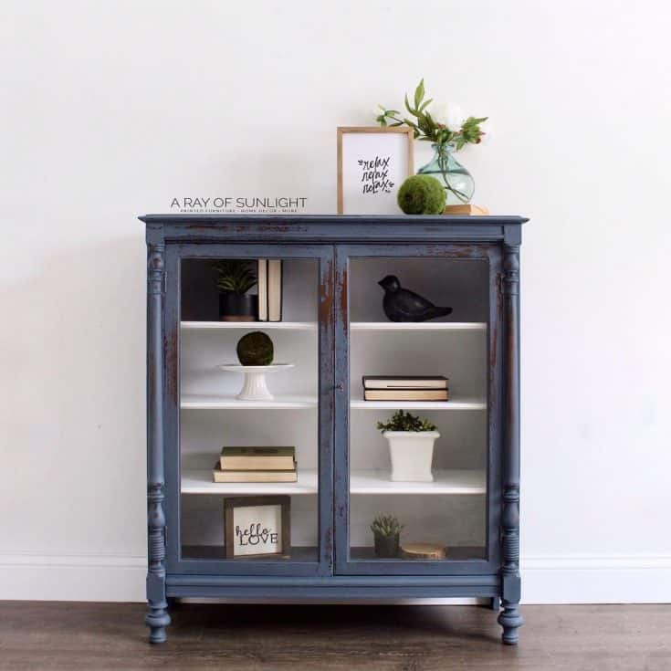 Chippy Blue Painted Bookcase