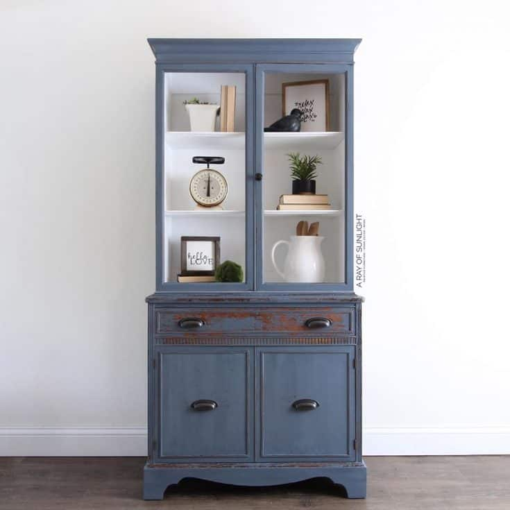 Chippy Blue Painted China Hutch