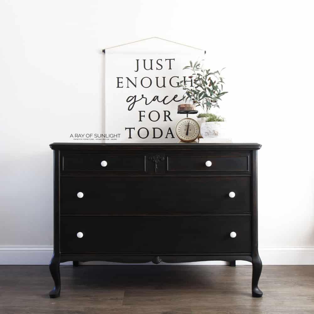 chippy black milk paint furniture