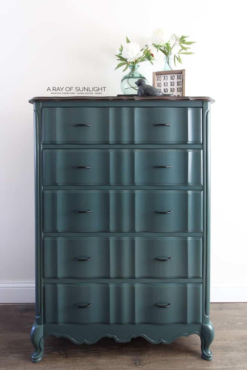 Teal Blue French Provincial Dresser