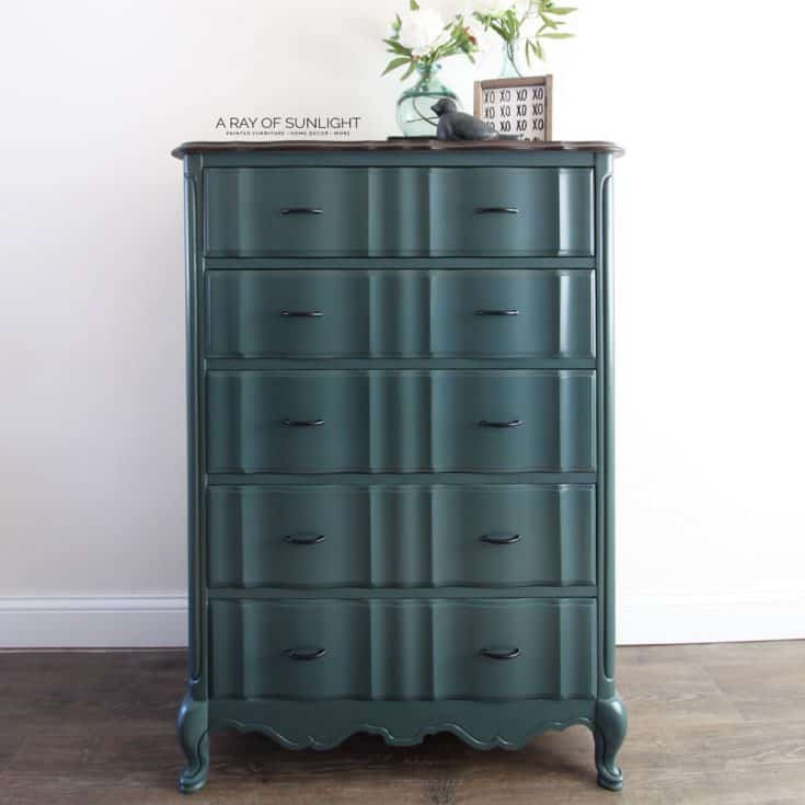 Teal Blue Tall Dresser Makeover