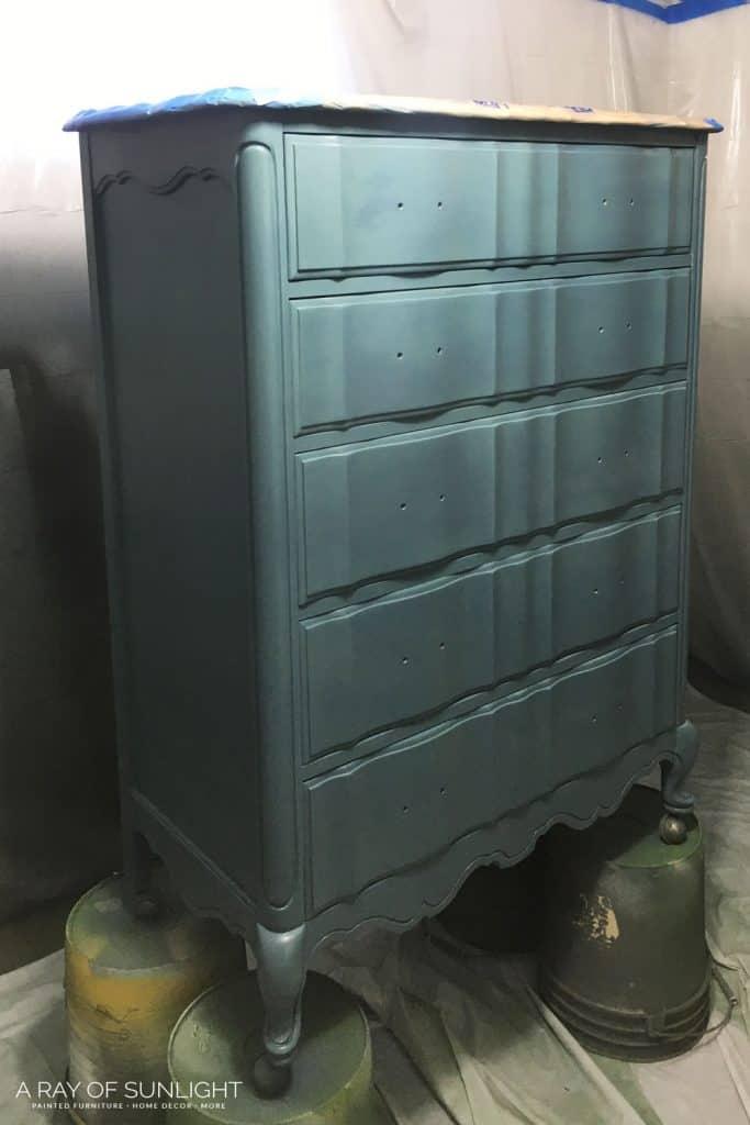 Teal Blue Tall Dresser