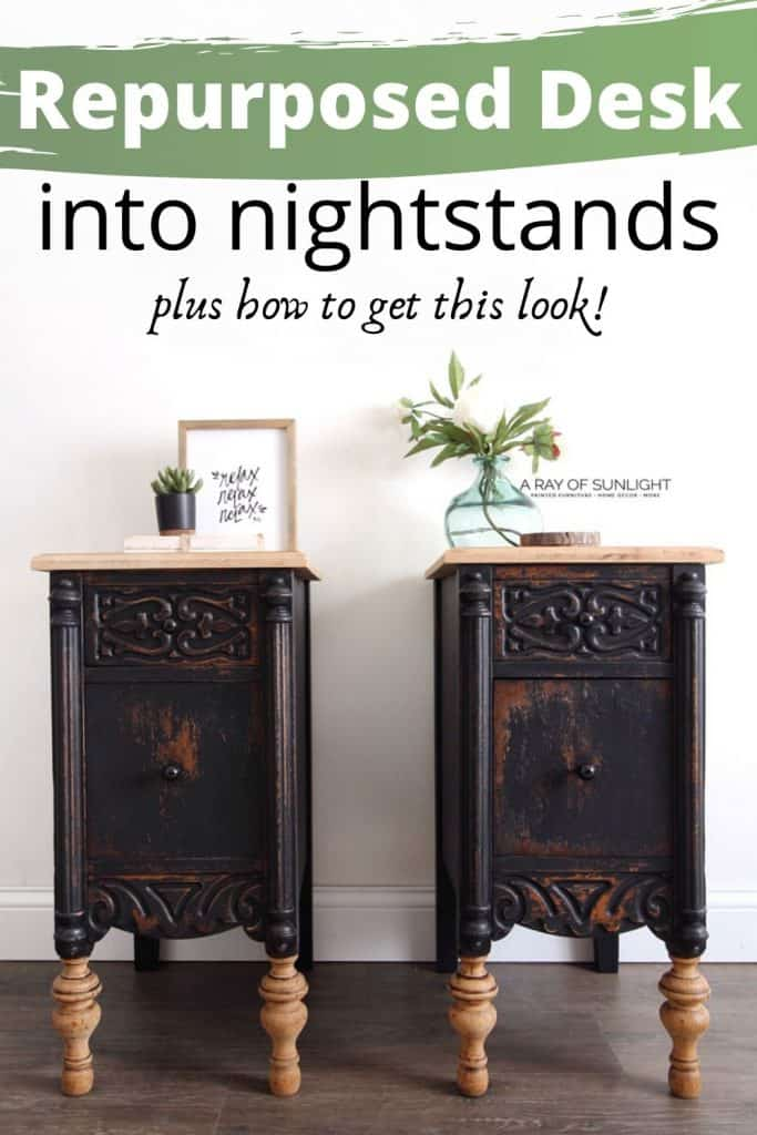 repurposed desk into nightstands