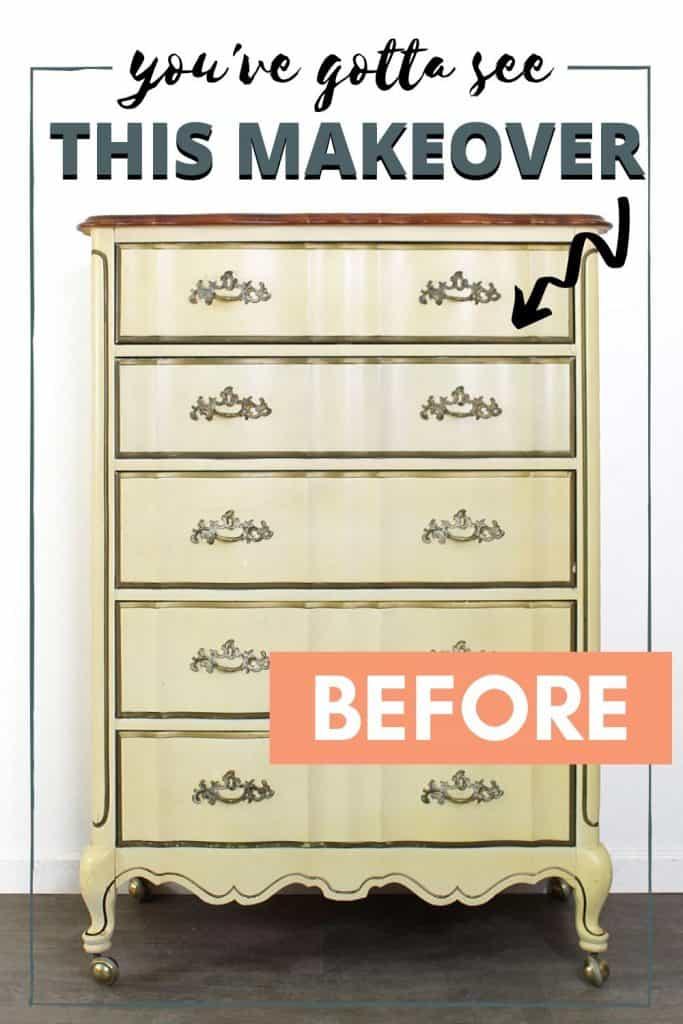 Before - Vintage French Provincial Dresser