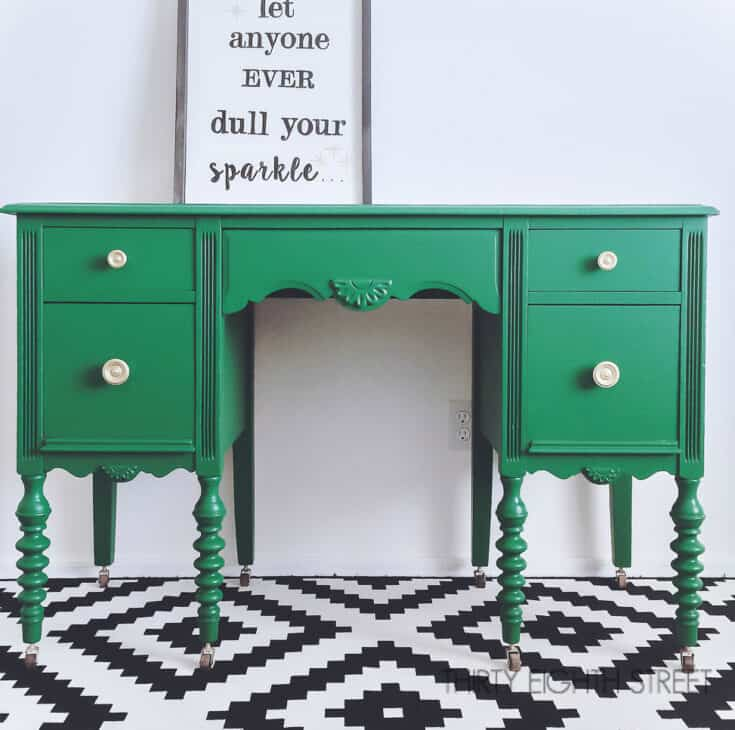 Emerald Green Painted Desk Makeover